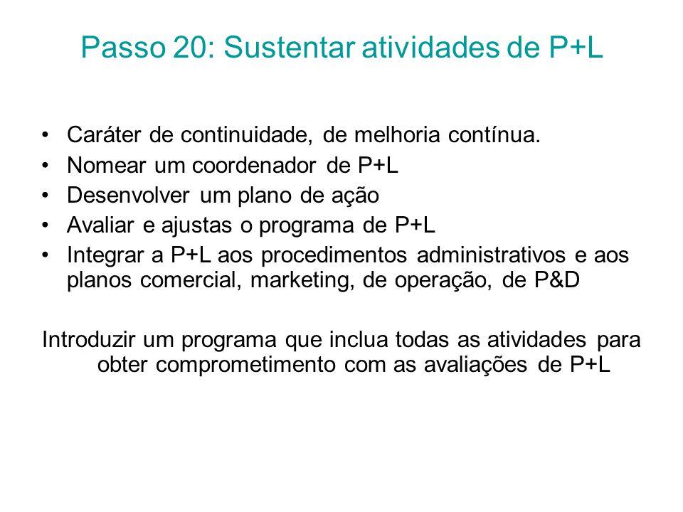 Passo 20: Sustentar atividades de P+L Caráter de continuidade, de melhoria contínua.