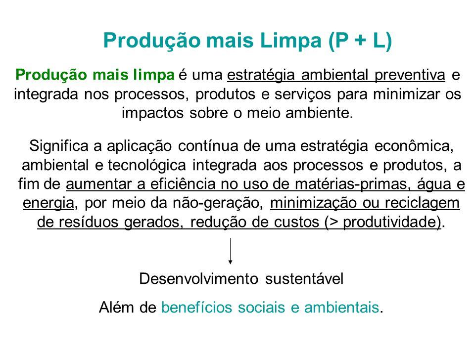 Produção mais limpa é uma estratégia ambiental preventiva e integrada nos processos, produtos e serviços para minimizar os impactos sobre o meio ambiente.