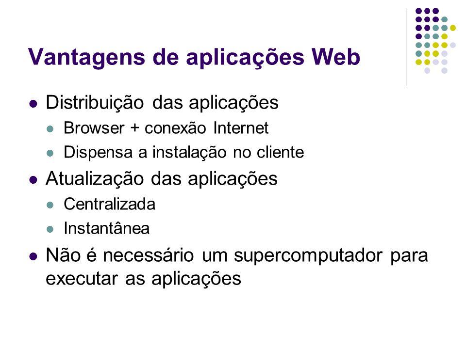 Vantagens de aplicações Web Distribuição das aplicações Browser + conexão Internet Dispensa a instalação no cliente Atualização das aplicações Central
