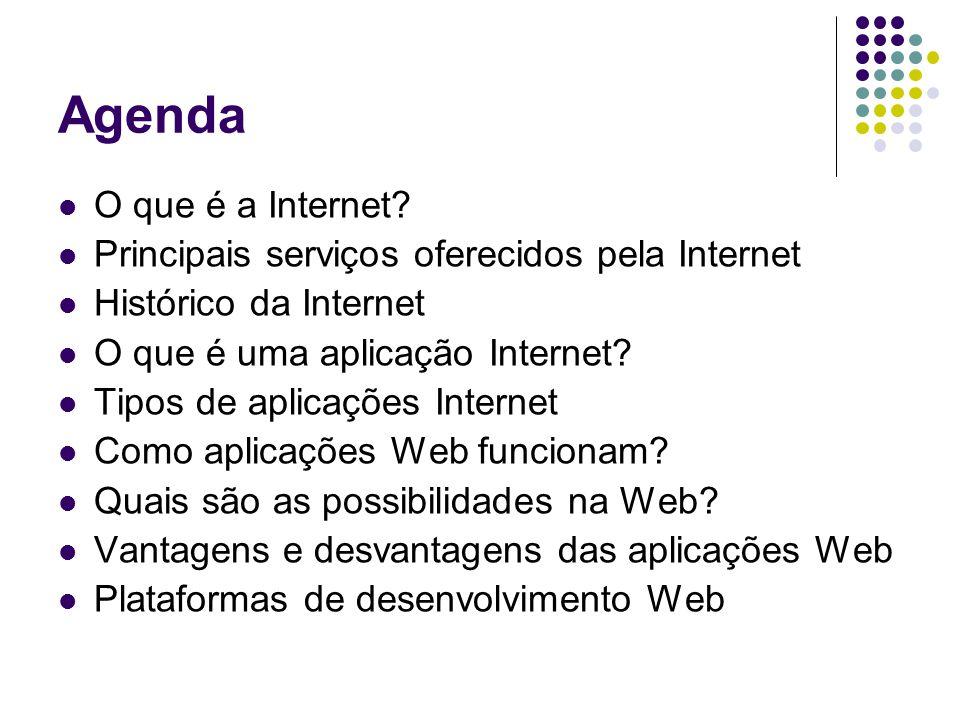 Agenda O que é a Internet? Principais serviços oferecidos pela Internet Histórico da Internet O que é uma aplicação Internet? Tipos de aplicações Inte