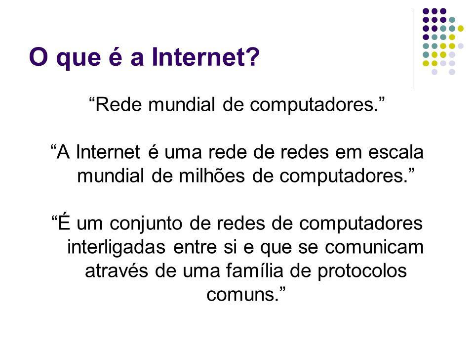 """O que é a Internet? """"Rede mundial de computadores."""" """"A Internet é uma rede de redes em escala mundial de milhões de computadores."""" """"É um conjunto de r"""