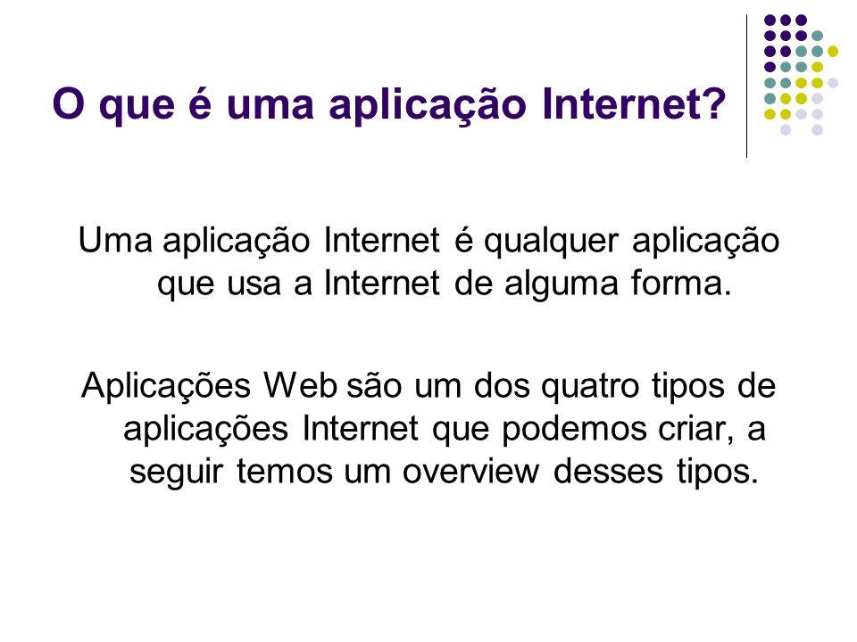 O que é uma aplicação Internet? Uma aplicação Internet é qualquer aplicação que usa a Internet de alguma forma. Aplicações Web são um dos quatro tipos
