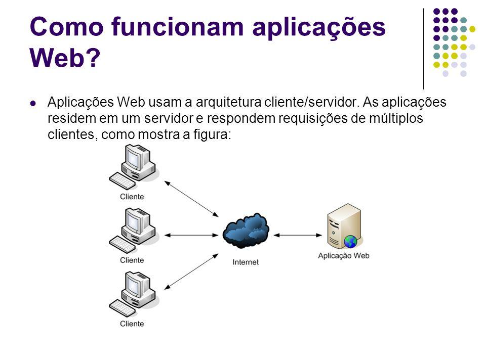 Como funcionam aplicações Web? Aplicações Web usam a arquitetura cliente/servidor. As aplicações residem em um servidor e respondem requisições de múl