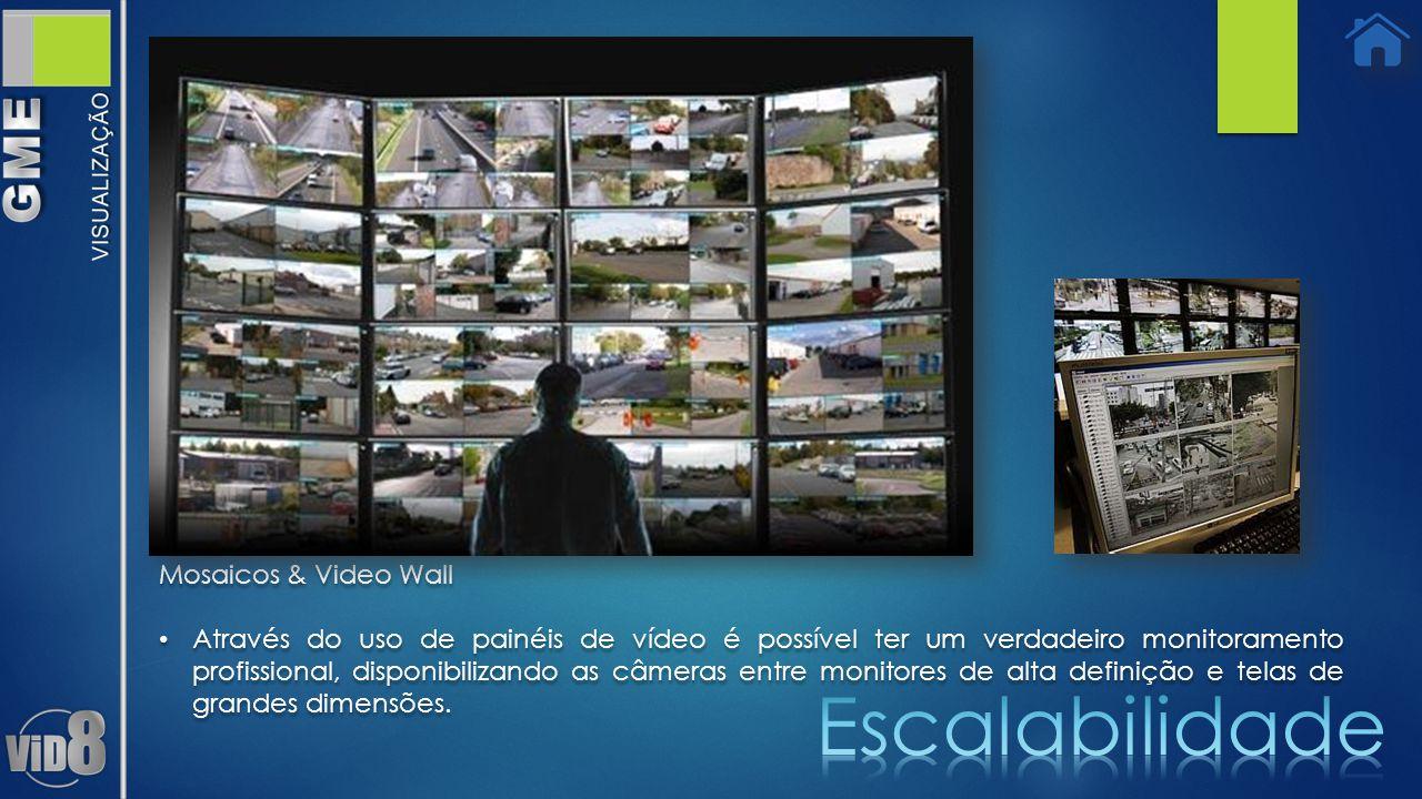 Mosaicos & Video Wall Através do uso de painéis de vídeo é possível ter um verdadeiro monitoramento profissional, disponibilizando as câmeras entre monitores de alta definição e telas de grandes dimensões.