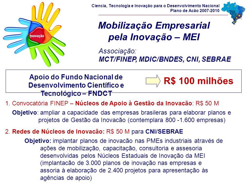 Mobilização Empresarial pela Inovação – MEI Associação: MCT/FINEP, MDIC/BNDES, CNI, SEBRAE Ciencia, Tecnologia e Inovação para o Desenvolvimento Nacio