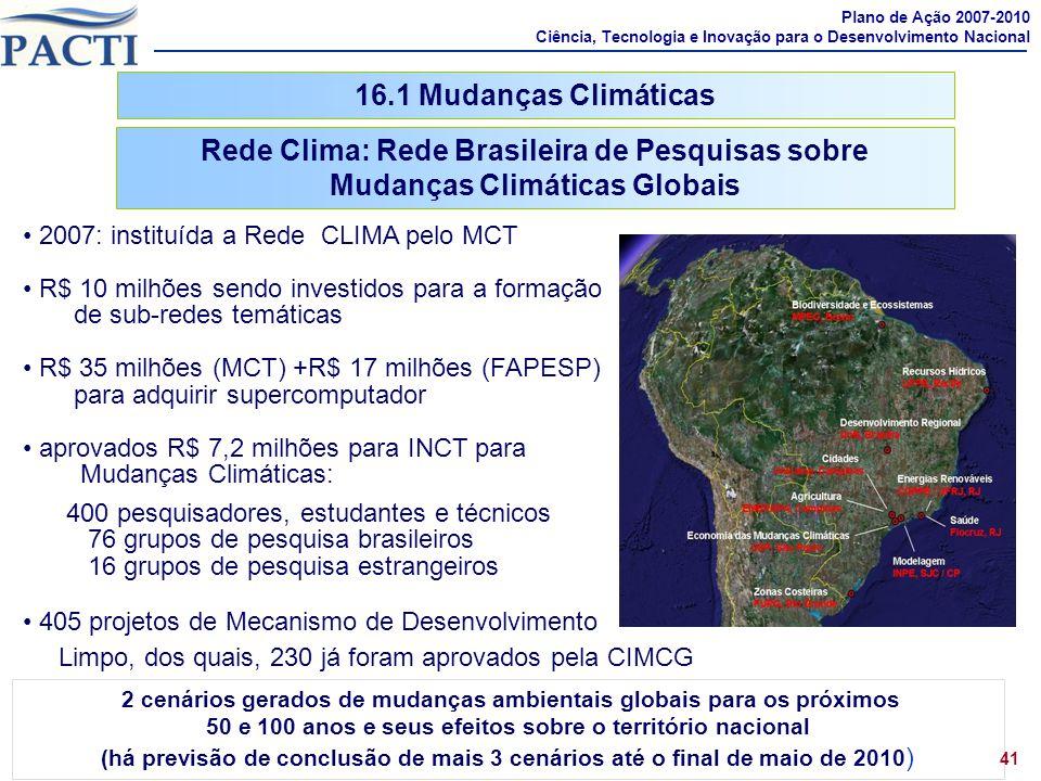 16.1 Mudanças Climáticas Rede Clima: Rede Brasileira de Pesquisas sobre Mudanças Climáticas Globais 41 2007: instituída a Rede CLIMA pelo MCT R$ 10 mi
