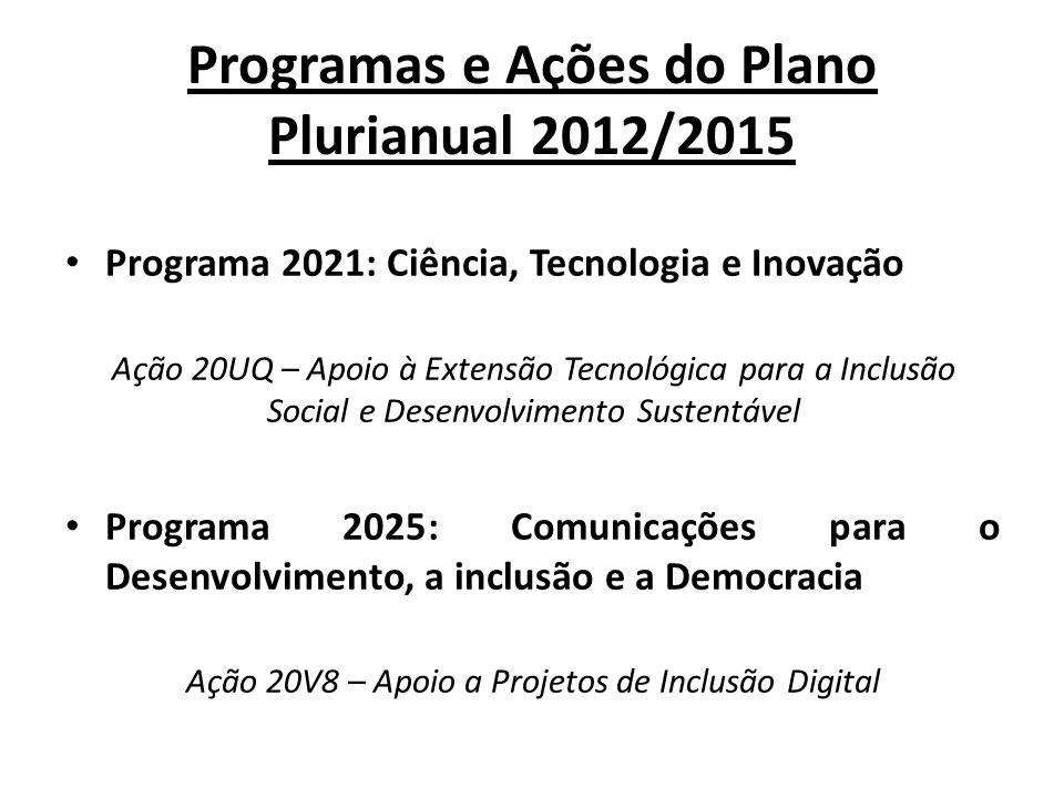 Programas e Ações do Plano Plurianual 2012/2015 Programa 2021: Ciência, Tecnologia e Inovação Ação 20UQ – Apoio à Extensão Tecnológica para a Inclusão