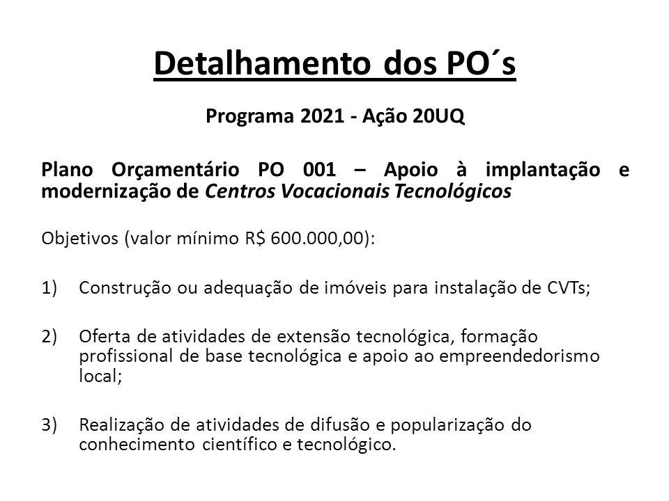 Detalhamento dos PO´s Programa 2021 - Ação 20UQ Plano Orçamentário PO 004 – Apoio ao Desenvolvimento de Tecnologias para Cidades Sustentáveis Objetivos (valor mínimo R$ 400.000,00): 1)Construções sustentáveis de interesse social; 2)Mobilidade e sistema de transporte coletivo; 3)Saneamento ambiental e sistemas sustentáveis de energia.