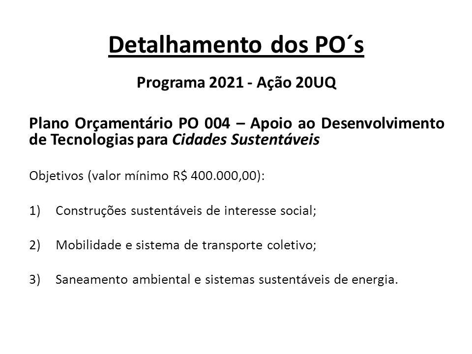 Detalhamento dos PO´s Programa 2021 - Ação 20UQ Plano Orçamentário PO 004 – Apoio ao Desenvolvimento de Tecnologias para Cidades Sustentáveis Objetivo