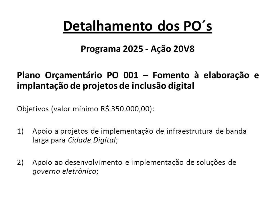 Detalhamento dos PO´s Programa 2025 - Ação 20V8 Plano Orçamentário PO 002 – Apoio a espaços públicos de inclusão digital Objetivos (valor mínimo R$ 200.000,00): 1)Apoio a projetos de construção de portais educacionais de internet para estudantes; 2)Apoio a projetos de construção de portais educacionais de internet para professores, subsidiando a prática docente; 3)Apoio à aquisição de pacotes computacionais educacionais direcionados a estudantes do ensino básico