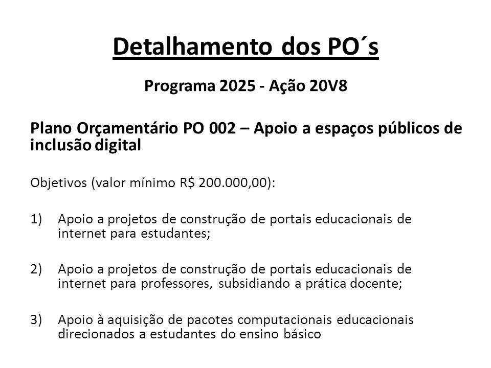 Detalhamento dos PO´s Programa 2025 - Ação 20V8 Plano Orçamentário PO 002 – Apoio a espaços públicos de inclusão digital Objetivos (valor mínimo R$ 20