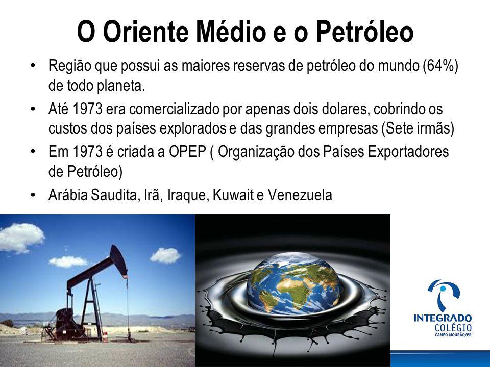 O Oriente Médio e o Petróleo Região que possui as maiores reservas de petróleo do mundo (64%) de todo planeta. Até 1973 era comercializado por apenas