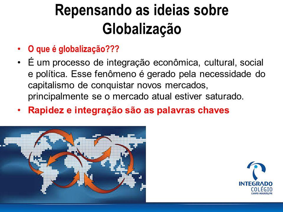 Repensando as ideias sobre Globalização O que é globalização??? É um processo de integração econômica, cultural, social e política. Esse fenômeno é ge