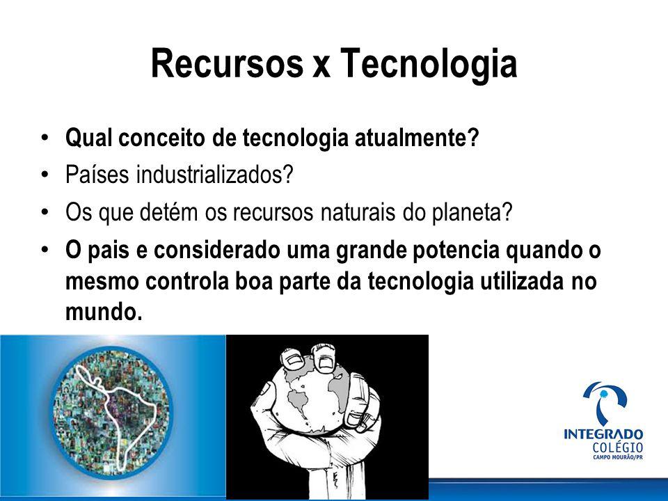 Recursos x Tecnologia Qual conceito de tecnologia atualmente? Países industrializados? Os que detém os recursos naturais do planeta? O pais e consider