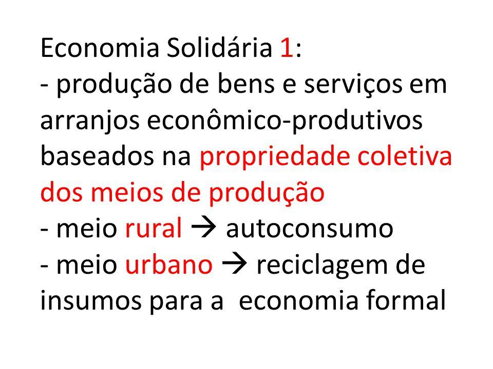 Economia Solidária 1: - produção de bens e serviços em arranjos econômico-produtivos baseados na propriedade coletiva dos meios de produção - meio rur