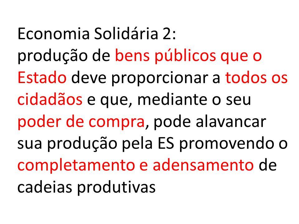 Economia Solidária 2: produção de bens públicos que o Estado deve proporcionar a todos os cidadãos e que, mediante o seu poder de compra, pode alavanc
