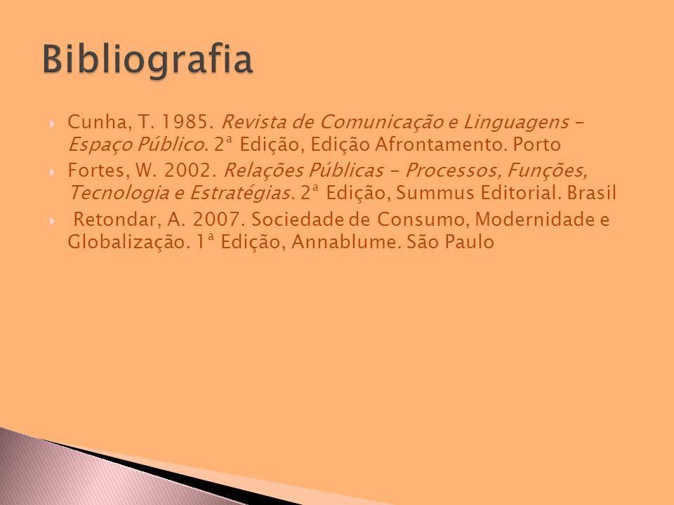  Cunha, T. 1985. Revista de Comunicação e Linguagens - Espaço Público.