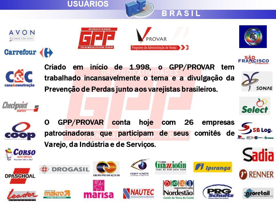 B R A S I L USUÁRIOS Criado em início de 1.998, o GPP/PROVAR tem trabalhado incansavelmente o tema e a divulgação da Prevenção de Perdas junto aos varejistas brasileiros.