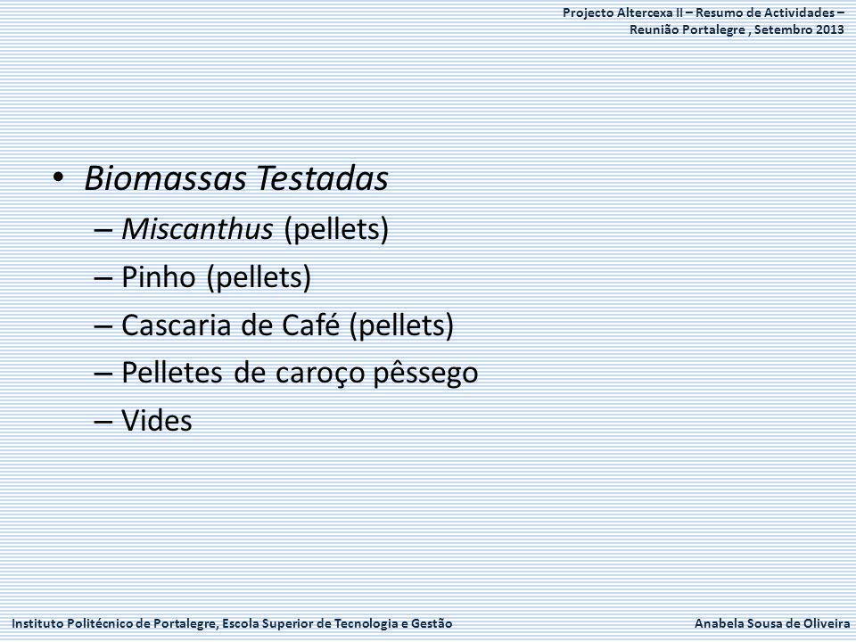 Instituto Politécnico de Portalegre, Escola Superior de Tecnologia e GestãoAnabela Sousa de Oliveira Projecto Altercexa II – Resumo de Actividades – Reunião Portalegre, Setembro 2013 Biomassas Testadas – Miscanthus (pellets) – Pinho (pellets) – Cascaria de Café (pellets) – Pelletes de caroço pêssego – Vides