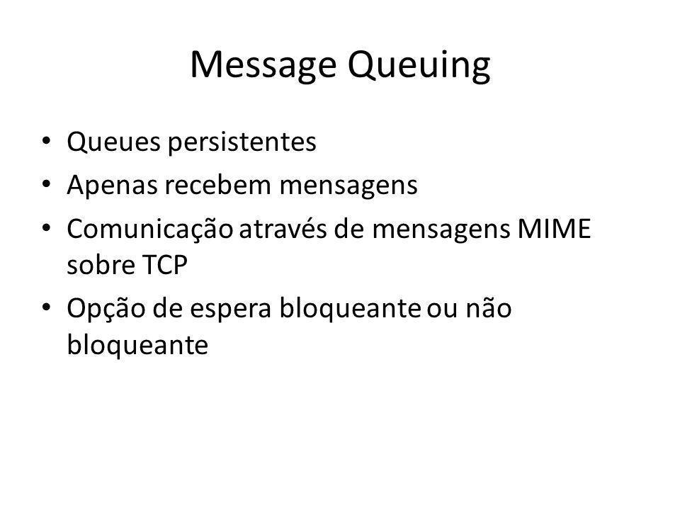 Message Queuing Queues persistentes Apenas recebem mensagens Comunicação através de mensagens MIME sobre TCP Opção de espera bloqueante ou não bloquea