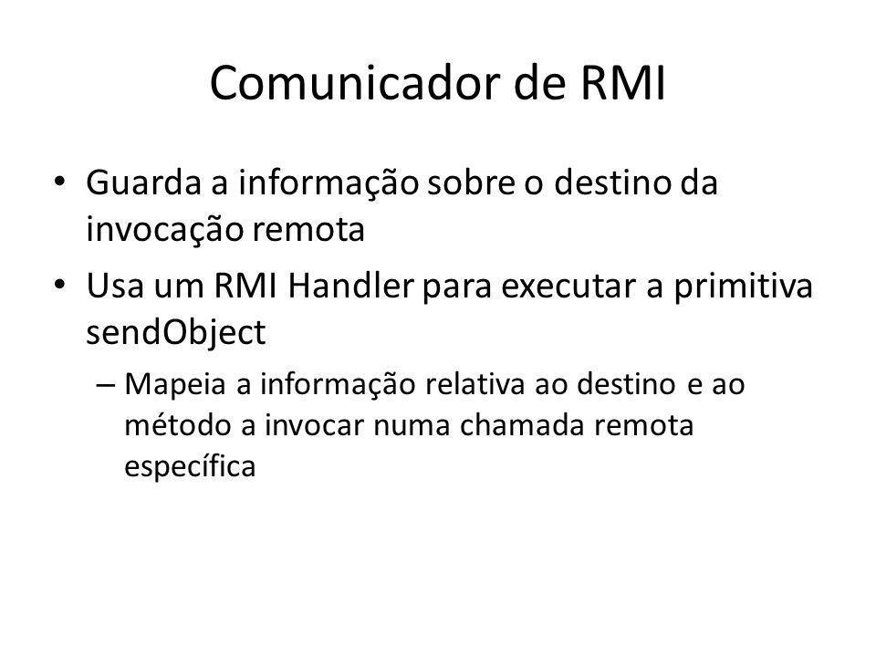 Comunicador de RMI Guarda a informação sobre o destino da invocação remota Usa um RMI Handler para executar a primitiva sendObject – Mapeia a informaç