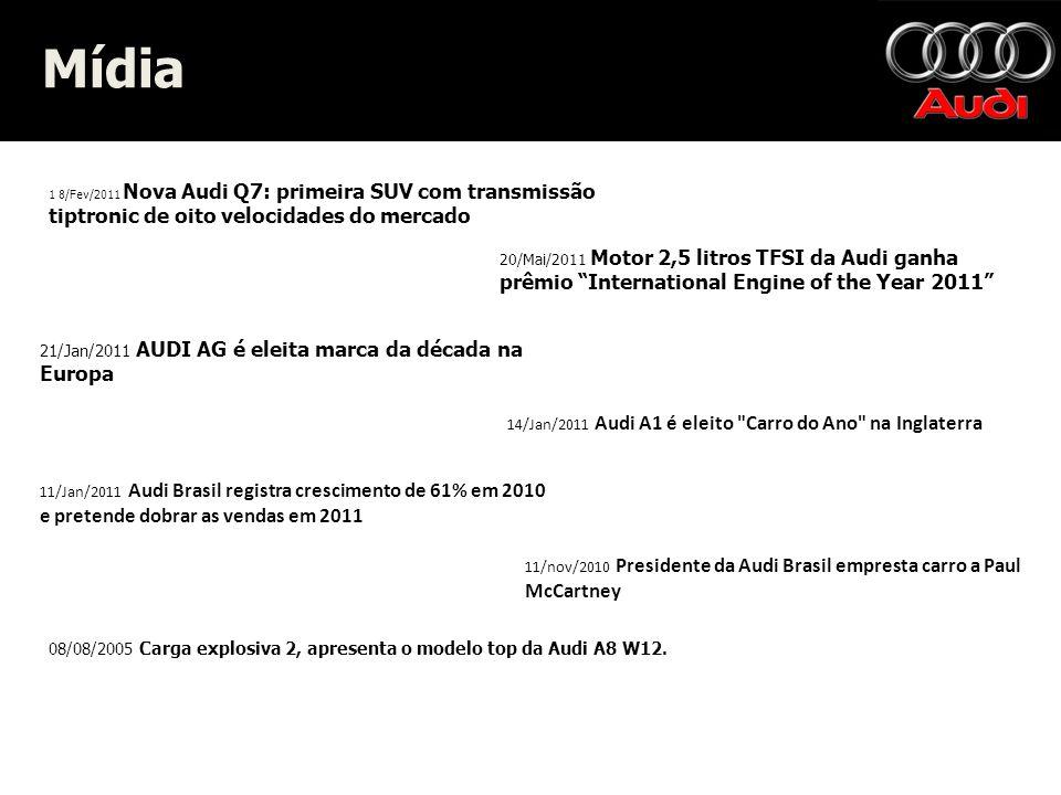 Mídia Mídia 1 8/Fev/2011 Nova Audi Q7: primeira SUV com transmissão tiptronic de oito velocidades do mercado 20/Mai/2011 Motor 2,5 litros TFSI da Audi ganha prêmio International Engine of the Year 2011 21/Jan/2011 AUDI AG é eleita marca da década na Europa 14/Jan/2011 Audi A1 é eleito Carro do Ano na Inglaterra 11/Jan/2011 Audi Brasil registra crescimento de 61% em 2010 e pretende dobrar as vendas em 2011 11/nov/2010 Presidente da Audi Brasil empresta carro a Paul McCartney 08/08/2005 Carga explosiva 2, apresenta o modelo top da Audi A8 W12.