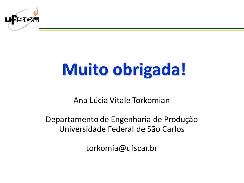 Muito obrigada! Ana Lúcia Vitale Torkomian Departamento de Engenharia de Produção Universidade Federal de São Carlos torkomia@ufscar.br