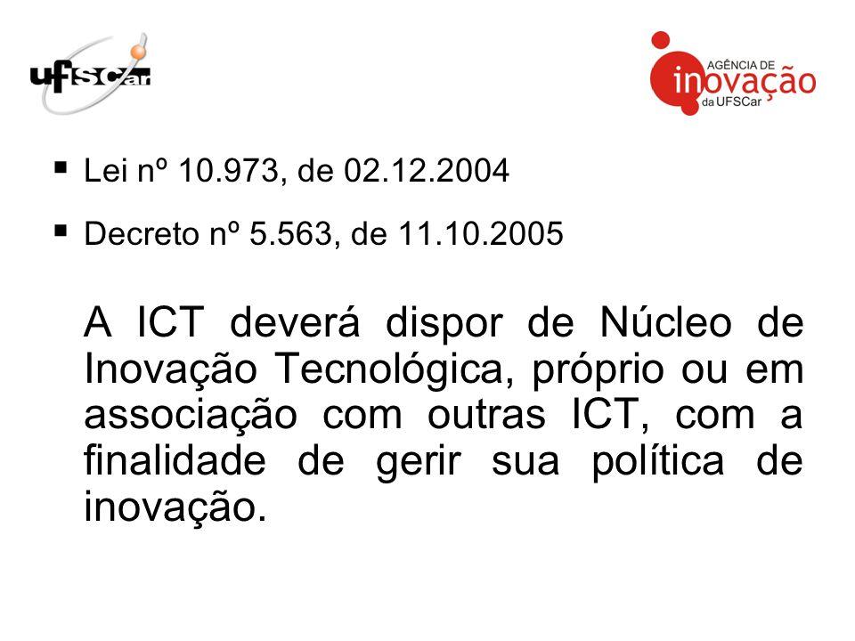 Lei nº 10.973, de 02.12.2004  Decreto nº 5.563, de 11.10.2005 A ICT deverá dispor de Núcleo de Inovação Tecnológica, próprio ou em associação com o