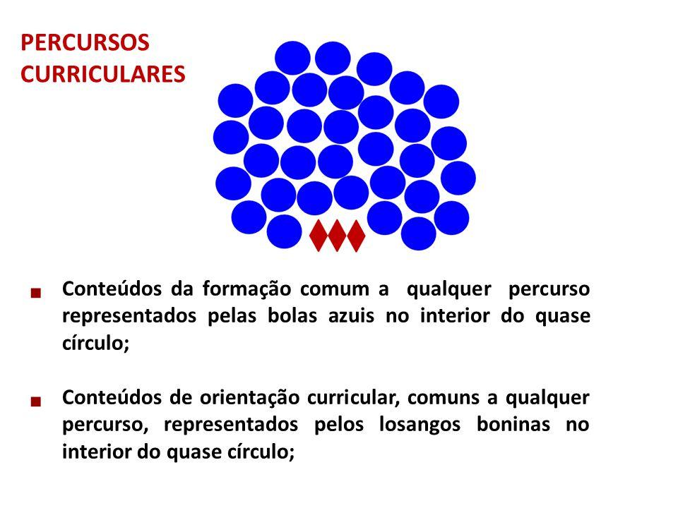  Conteúdos da formação comum a qualquer percurso representados pelas bolas azuis no interior do quase círculo;  Conteúdos de orientação curricular,