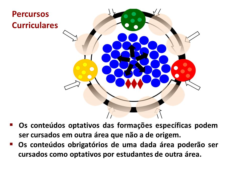  Os conteúdos optativos das formações específicas podem ser cursados em outra área que não a de origem.  Os conteúdos obrigatórios de uma dada área