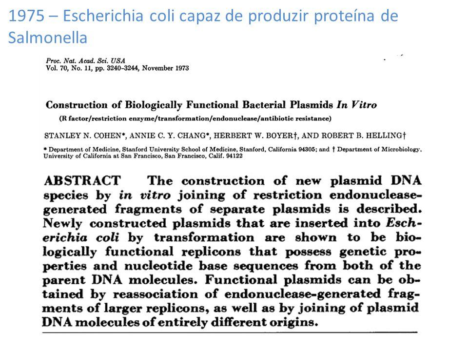 1975 – Escherichia coli capaz de produzir proteína de Salmonella