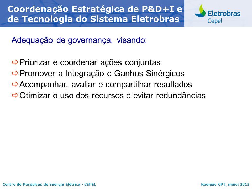 Centro de Pesquisas de Energia Elétrica - CEPELReunião CPT, maio/2012 Adequação de governança, visando:  Priorizar e coordenar ações conjuntas  Prom