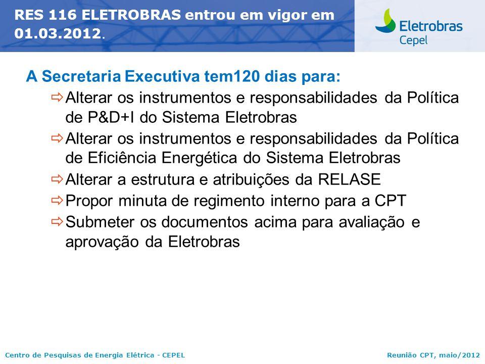 Centro de Pesquisas de Energia Elétrica - CEPELReunião CPT, maio/2012 RES 116 ELETROBRAS entrou em vigor em 01.03.2012. A Secretaria Executiva tem120