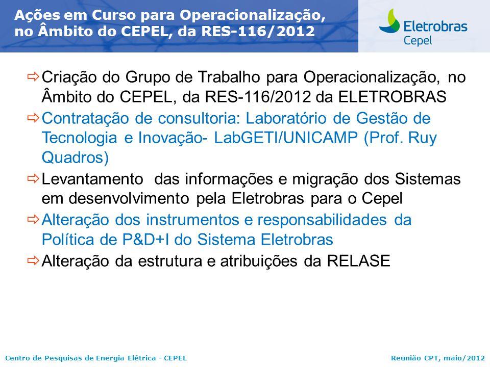 Centro de Pesquisas de Energia Elétrica - CEPELReunião CPT, maio/2012 Ações em Curso para Operacionalização, no Âmbito do CEPEL, da RES-116/2012  Cri