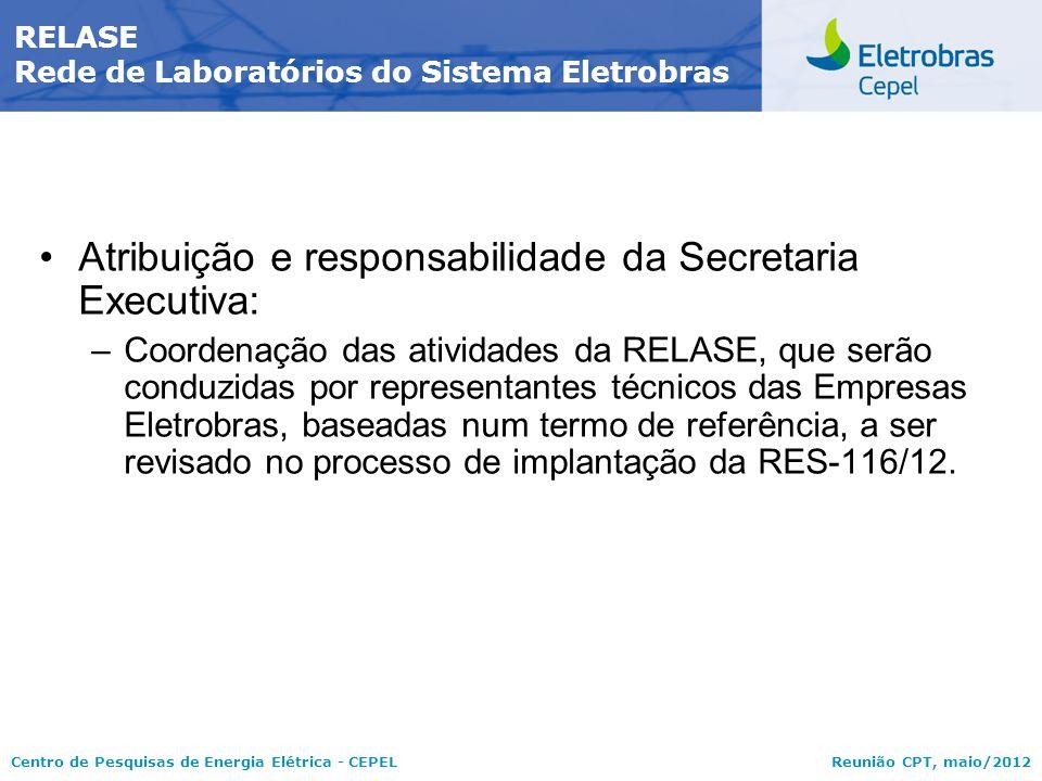 Centro de Pesquisas de Energia Elétrica - CEPELReunião CPT, maio/2012 Atribuição e responsabilidade da Secretaria Executiva: –Coordenação das atividad