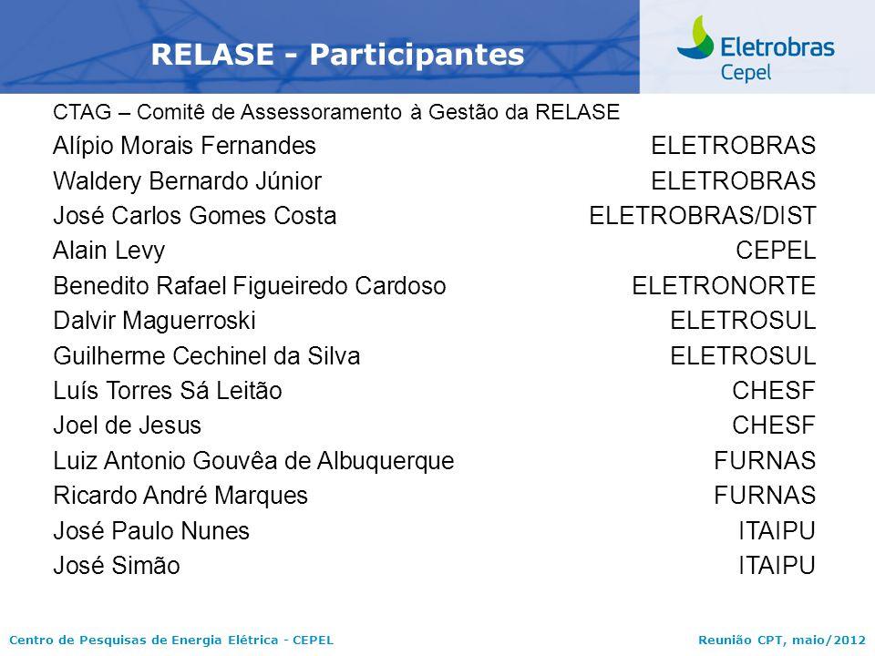 Centro de Pesquisas de Energia Elétrica - CEPELReunião CPT, maio/2012 RELASE - Participantes CTAG – Comitê de Assessoramento à Gestão da RELASE Alípio