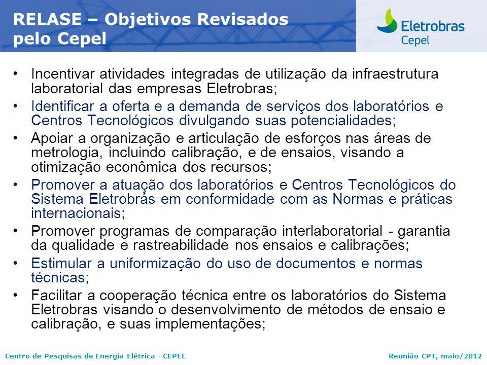 Centro de Pesquisas de Energia Elétrica - CEPELReunião CPT, maio/2012 Incentivar atividades integradas de utilização da infraestrutura laboratorial da