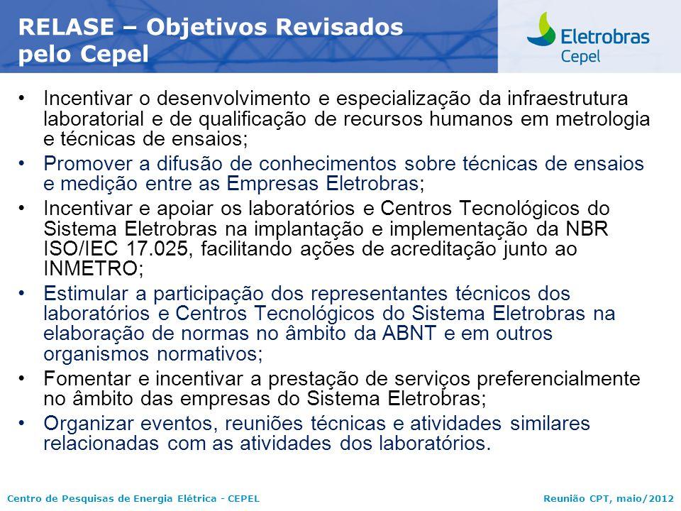 Centro de Pesquisas de Energia Elétrica - CEPELReunião CPT, maio/2012 Incentivar o desenvolvimento e especialização da infraestrutura laboratorial e d