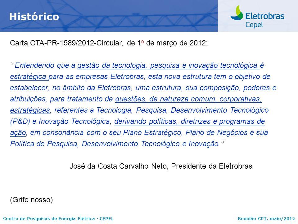Centro de Pesquisas de Energia Elétrica - CEPELReunião CPT, maio/2012 Principais Fontes de Financiamento para P&D+I  Recursos orçamentários próprios das empresas do Sistema Eletrobrás  Fundo de Desenvolvimento Tecnológico - FDT, criado pela Eletrobras,em 14/02/1979, por meio da RES-130/1979, que destina, anualmente, até 0,5% (meio por cento) do Capital Social para investimento em P&D+I, eficiência energética e no CEPEL  Recursos disponibilizados pela Lei 9.991, de 24/07/2000, que dispõe, sobre a realização de investimentos em pesquisa e desenvolvimento e em eficiência energética (% da Receita Operacional Líquida – ROL) por parte das empresas concessionárias, permissionárias e autorizadas do setor de energia elétrica  Publicidade dos resultados;  A quem pertence o resultado.
