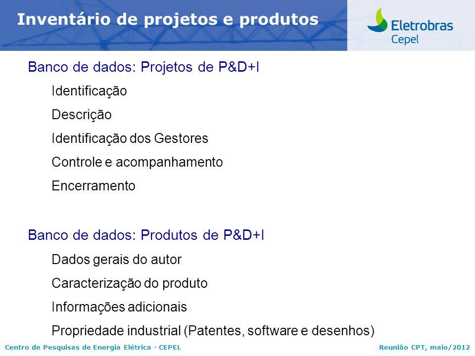 Centro de Pesquisas de Energia Elétrica - CEPELReunião CPT, maio/2012 Inventário de projetos e produtos Banco de dados: Projetos de P&D+I Identificaçã