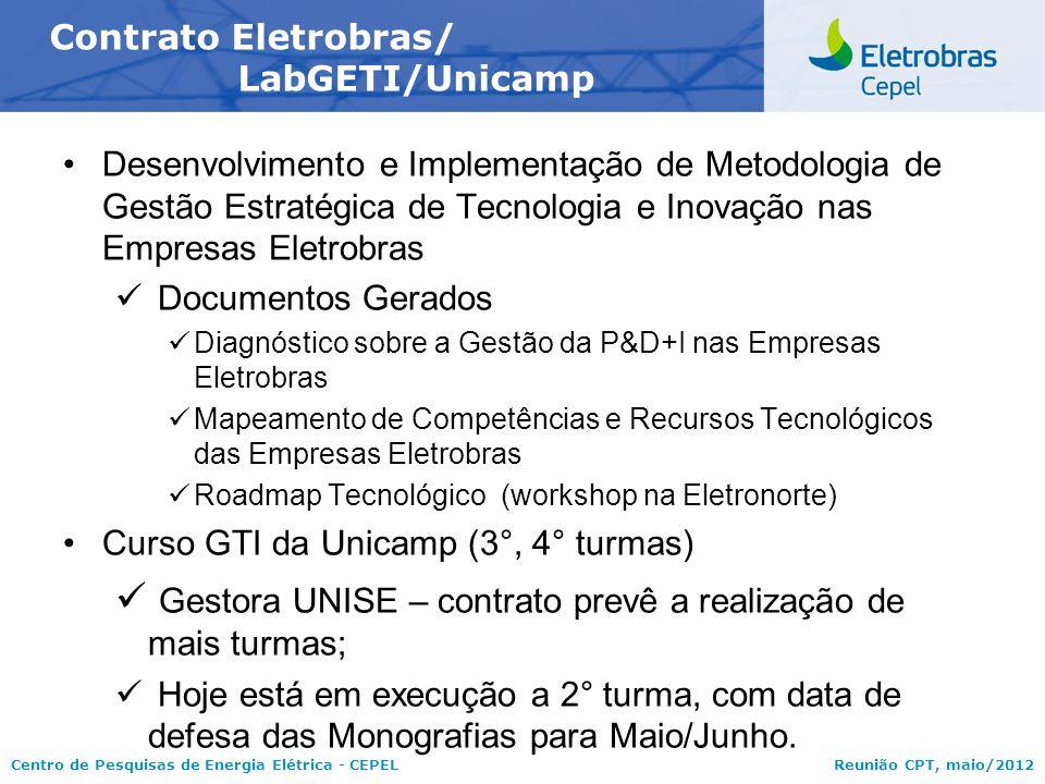 Centro de Pesquisas de Energia Elétrica - CEPELReunião CPT, maio/2012 Desenvolvimento e Implementação de Metodologia de Gestão Estratégica de Tecnolog