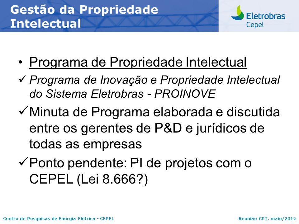 Centro de Pesquisas de Energia Elétrica - CEPELReunião CPT, maio/2012 Programa de Propriedade Intelectual Programa de Inovação e Propriedade Intelectu