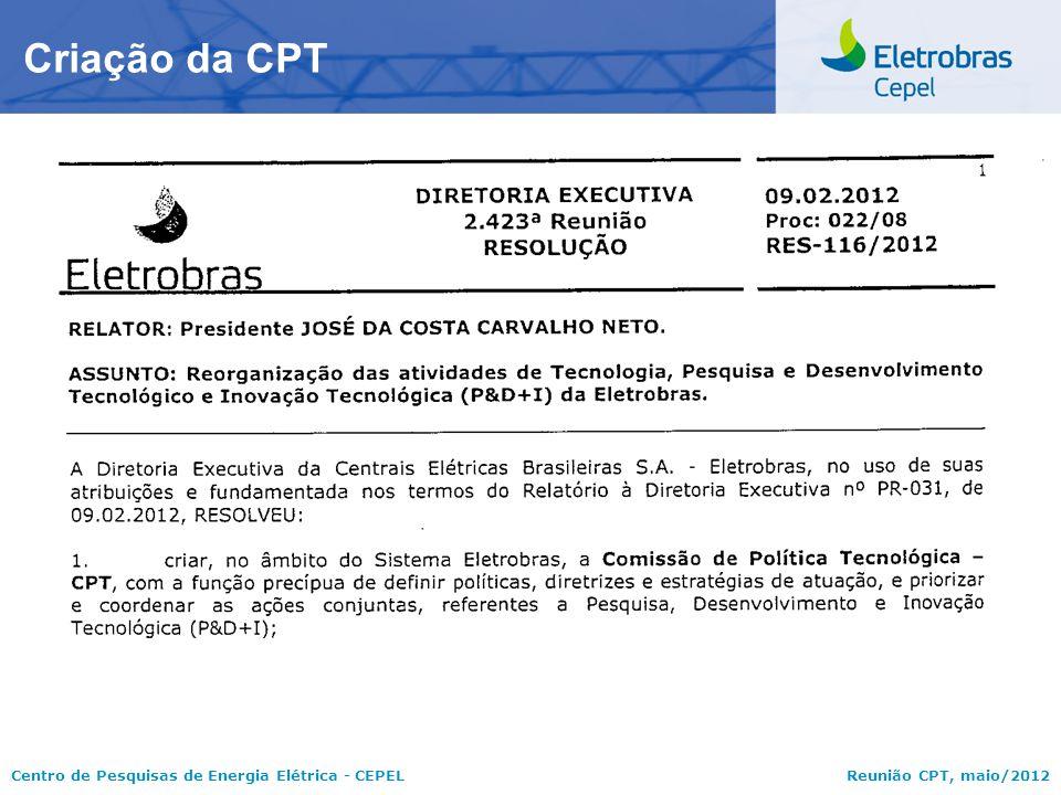 Centro de Pesquisas de Energia Elétrica - CEPELReunião CPT, maio/2012 Criação da CPT