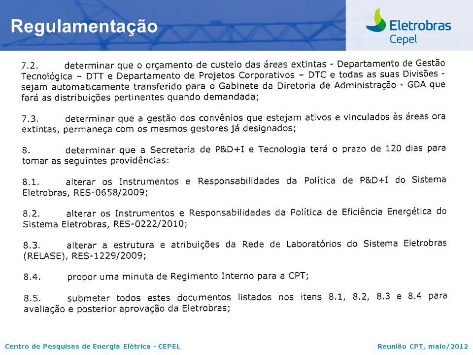 Centro de Pesquisas de Energia Elétrica - CEPELReunião CPT, maio/2012 Regulamentação