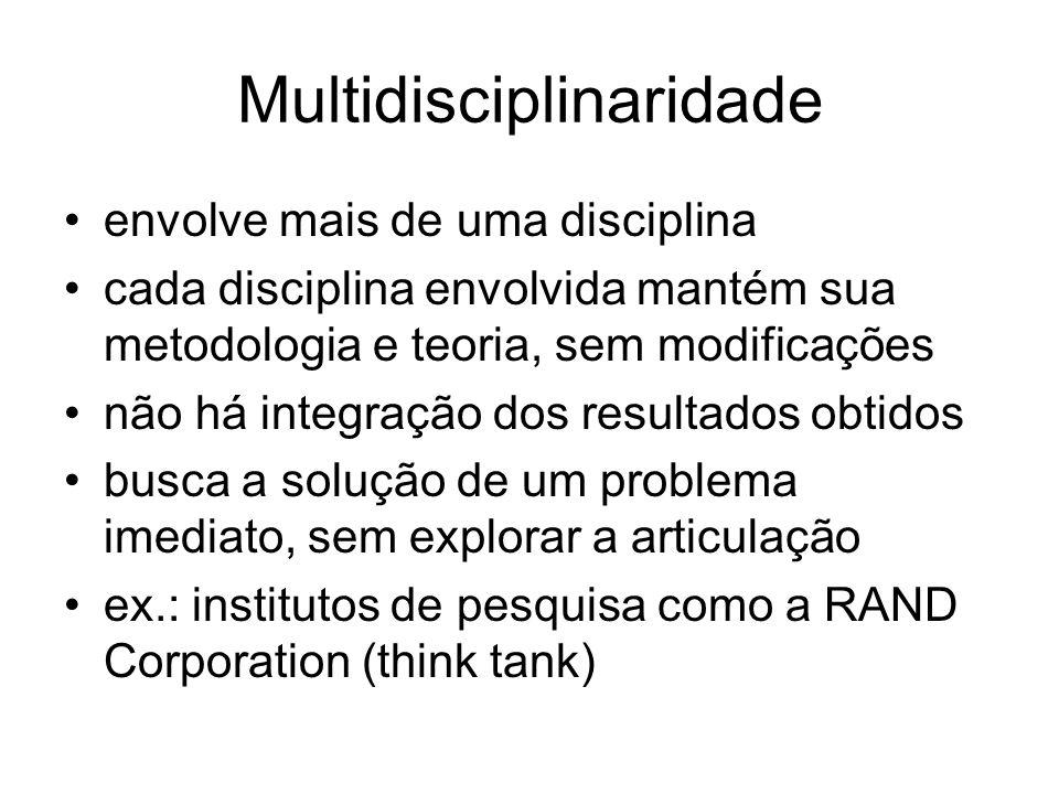 Multidisciplinaridade envolve mais de uma disciplina cada disciplina envolvida mantém sua metodologia e teoria, sem modificações não há integração dos