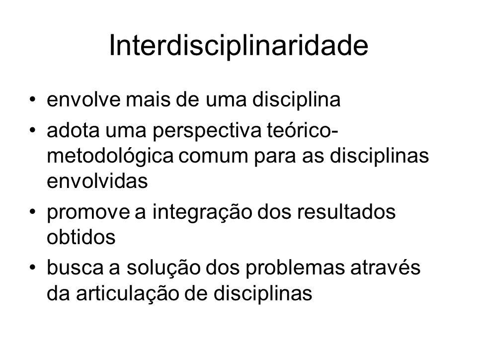 Interdisciplinaridade envolve mais de uma disciplina adota uma perspectiva teórico- metodológica comum para as disciplinas envolvidas promove a integr