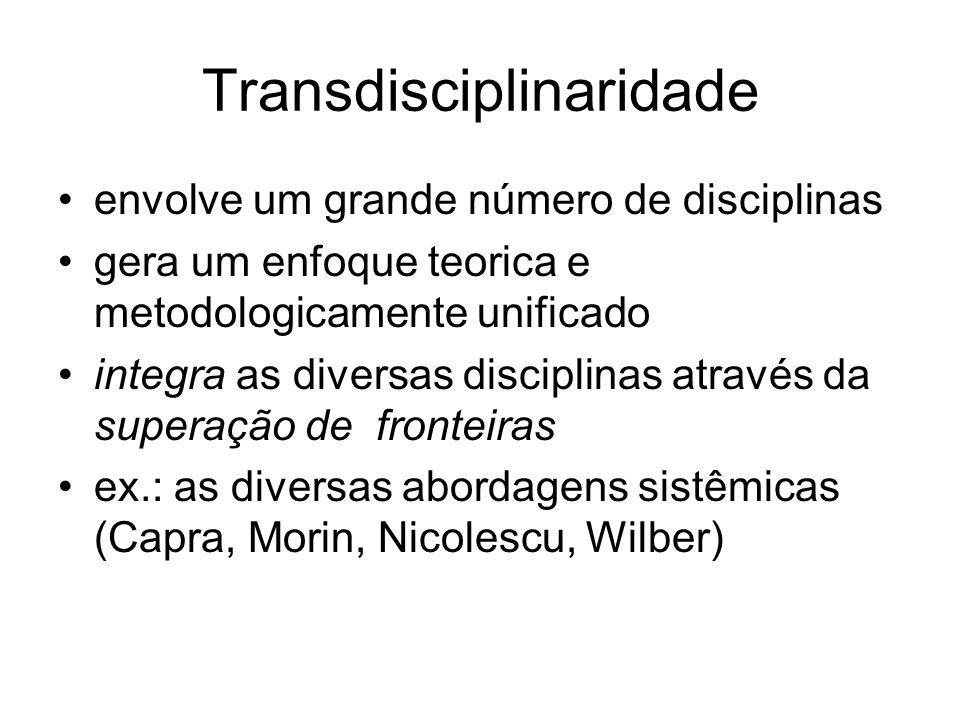 Transdisciplinaridade envolve um grande número de disciplinas gera um enfoque teorica e metodologicamente unificado integra as diversas disciplinas at