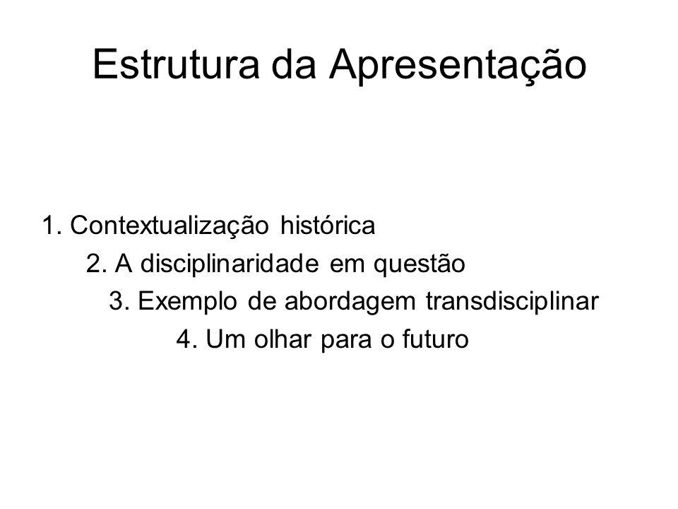 Estrutura da Apresentação 1. Contextualização histórica 2. A disciplinaridade em questão 3. Exemplo de abordagem transdisciplinar 4. Um olhar para o f