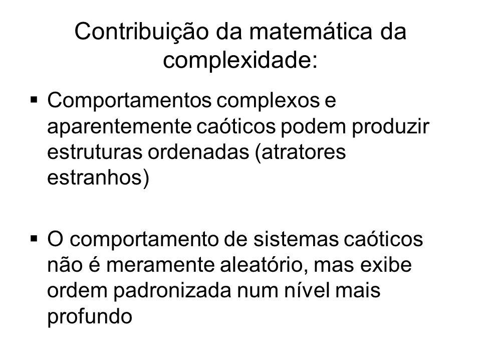 Contribuição da matemática da complexidade:  Comportamentos complexos e aparentemente caóticos podem produzir estruturas ordenadas (atratores estranh