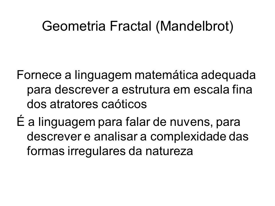 Geometria Fractal (Mandelbrot) Fornece a linguagem matemática adequada para descrever a estrutura em escala fina dos atratores caóticos É a linguagem